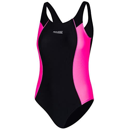 Aqua Speed UV Schwimmbekleidung Mädchen Kind | Badeanzug Schwimmen Training | Swimming Costume Girls | Swimsuit | Schwimmanzug | Schwimmen | Schwarz-Violett | Gr. 152 cm | Luna