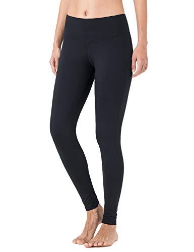 NAVISKIN Damen Slim-Laufhose Thermoleggings Innenfleece wärmeisolierende Sport-Leggings Jogging-Yogahose mit Schlüsseltasche schwarz Größe XXL