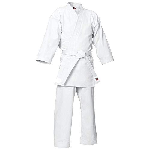 MYmixtrendz. Weißer Karate-Anzug für Erwachsene und Kinderschüler mit KOSTENLOSEM weißen Gürtel Poly/Cotton (vorgeschrumpft) Uniformen Jungen Kimono-Set (White, 5/180cm Large)