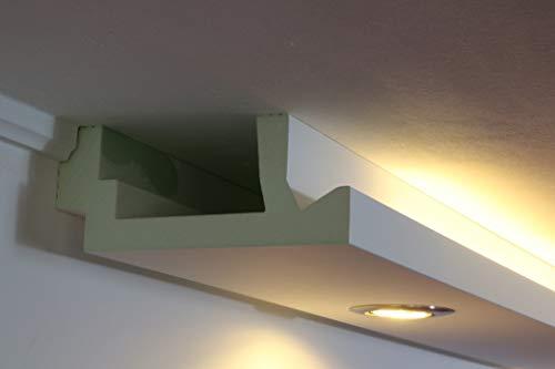 Moderne LED Stuck-leiste - Licht-Profil für indirekte Wandbeleuchtung und Deckenbeleuchtung z.B. im Wohnzimmer, Schlafzimmer oder Küche mit LED Flexband / Stripes, Spots und Downlights WDML-200A-PR von BENDU