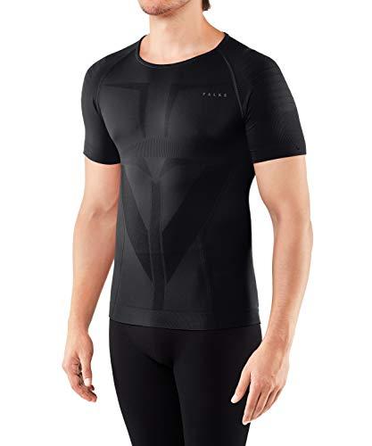 FALKE Herren, Kurzarmshirt Warm Short Sleeve Close Fit Funktionsfaser, 1 er Pack, Schwarz (Black 3000), Größe: L