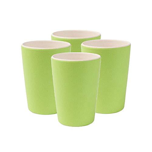 BIOZOYG Umweltfreundliches Kindergeschirr Bambus I 4 Stück Kinderbecher Melamin Partygeschirr Trinkbecher Mehrweg spülmaschinenfest BPA frei I Bambus Cup Natur weiß/grün 300 ml
