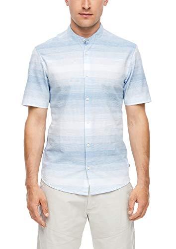 Q/S designed by - s.Oliver Herren Extra Slim: Hemd mit Stehkragen blue stripes XXL