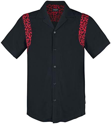 Chet Rock Herren Hemd Ritchie Leomuster Retro Bowling Shirt Schwarz M