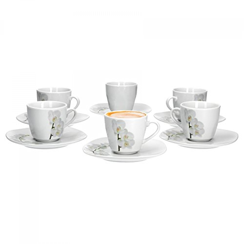 Van Well Vanda weiße Orchidee 6er Set Espressotasse + Untertasse, Espresso-Set, Blumendekor, edles Marken-Porzellan
