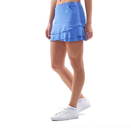 Sportkind Mädchen & Damen Tulip Tennis, Hockey, Golf Skort, Rock mit Taschen & Innenhose, atmungsaktiv, UV-Schutz, Kornblumen blau, Gr. S