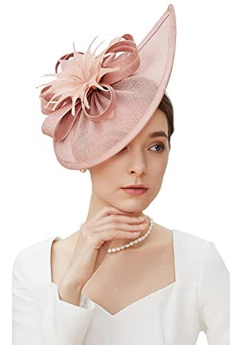 BABEYOND Fascinators Hut Damen Elegant Blumen Fascinator Haarreif für Hochzeit Cocktail Tee Party Derby Haar Kopf Accessoires Damen Karneval Fasching Kostüm Zubehör (Nude Pink)