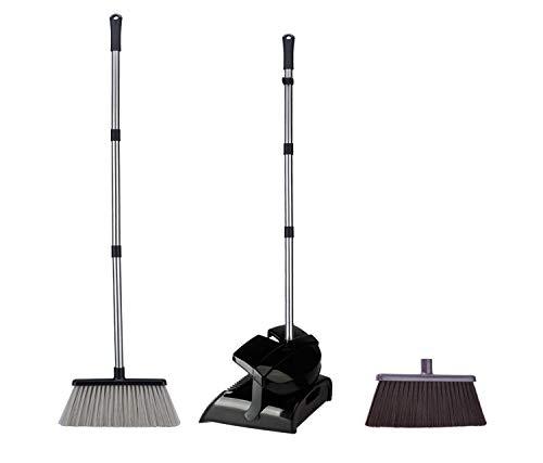 TODOHOME Schaufel & Besensets Kehrbesen und Dustpan—121cm Gesamthöhe mit Edelstahlpolen(2 Besen Köpfe verfügbar, Schwarz)