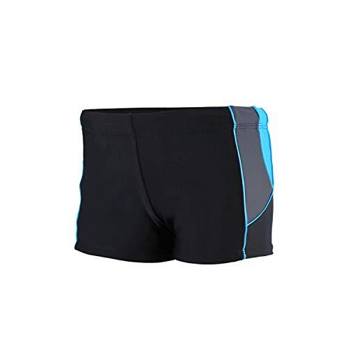 Aquarti Jungen Kurze Badehose mit Einsätze Seitlich, Farbe: Schwarz/Graphit/Blau, Größe: 128