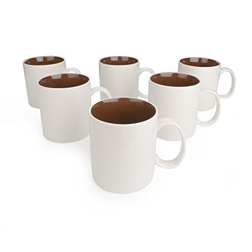 Kaffeebecher 6-teilig Set aus Porzellan, 450 ml Kaffeetassen von Panbado, Braun + Creme