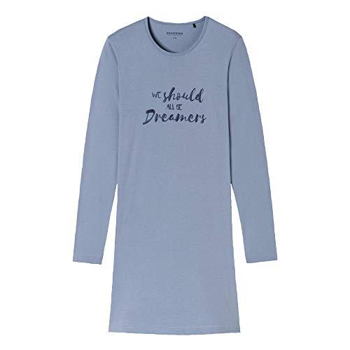 Schiesser Damen Langarm Sleepshirt 'Selected! Premium' Geringeltes Nachthemd, 85cm - Jeansblau - 42