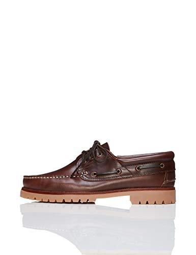Amazon-Marke: FIND Chunky Leather Boat Shoe, Herren Segelschuhe, Braun (Cognac), 45 EU