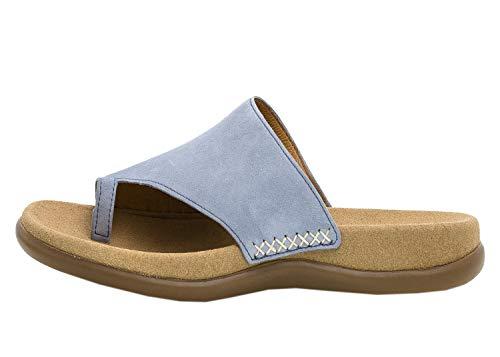 Gabor 23-700 Damen Pantoletten Zehentrenner Samtchevreau Leder, Schuhgröße:36 EU, Farbe:Blau