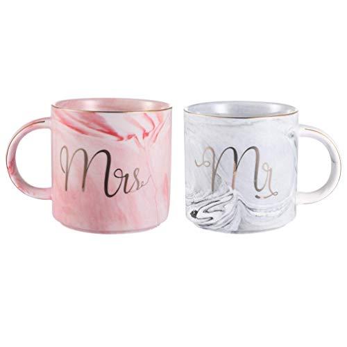 Mr und Mrs Tassen Keramik Kaffeetassen Marbling mit goldenen Mustern, perfekt für Kaffee, Tee und Wasser, 400 ml, 2 Stücke(Decke und die Löffel dabei sind nicht)