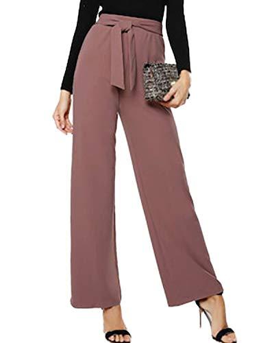 CNFIO Lange Hose Damen Hosen Frauen Plus Size Herbst Weite Beine Chic Hohe Taille mit Gürtel D-Rosa EU42