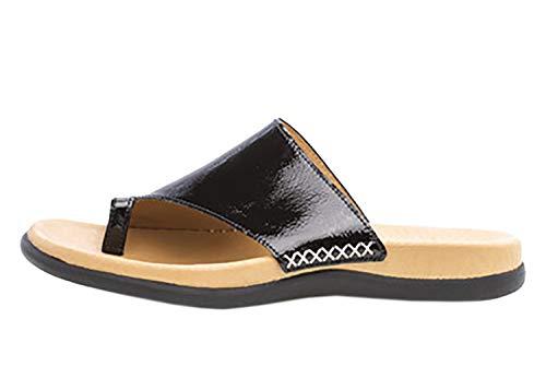 Gabor 23-700 Damen Pantoletten Zehentrenner Touch Lack, Schuhgröße:42 EU, Farbe:Schwarz