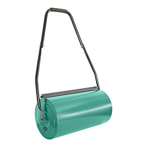 Grafner Rasenwalze 60 cm Arbeitsbreite, befüllbar mit Sand oder Wasser bis zu 60 kg, Durchmesser 32 cm, stabile Ausführung mit Abstreifern und Softgriff, Handwalze Rasenroller Walze
