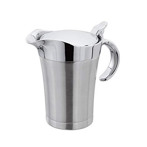 VOSAREA Sauciere Edelstahl Isolier Soßen Kanne Soßenschüssel Soßiere für Küche Restaurant BBQ 750ml (Silber)