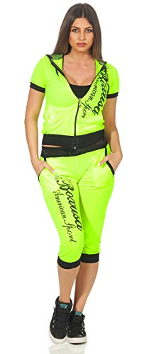 Elo-Style Damen Jogging Anzug Sportanzug Trainingsanzug Trainingsjacke Jogginganzug, 1815 Neon Gelb S