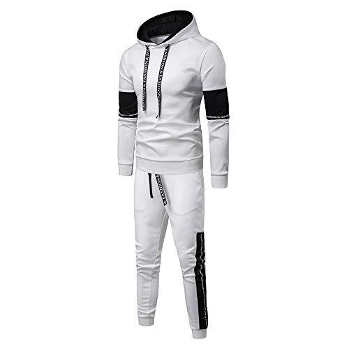 Aiserkly Herren Jogginganzug Trainingsanzug Sportanzug Fußball Sporthose Hoodie Hose für Gym Warm Tracksuit Herbst Winter Streatwear Weiß 3XL