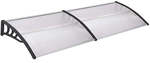 UISEBRT Vordach für Haustür 200 x 100 cm - Transparent Polycarbonat Pultvordach Überdachung 5 mm, Schwarz (200 x 100 cm, Schwarz)