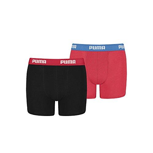 Puma Jungen Boxershorts mit hohem Baumwollanteil gewohnt Gute Marken Qualität. 4er Pack (134-140 - 4er Pack, red/Black)