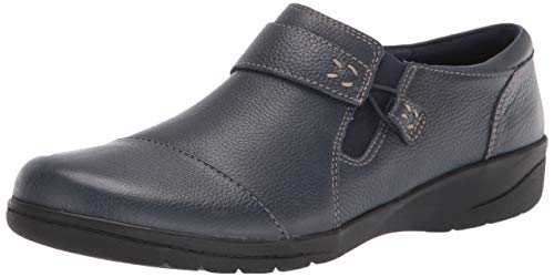Clarks Damen Women's Cheyn Onyx Tumbled Leather-8.5M Flacher Slipper, Navy Trommelleder, 39.5 EU
