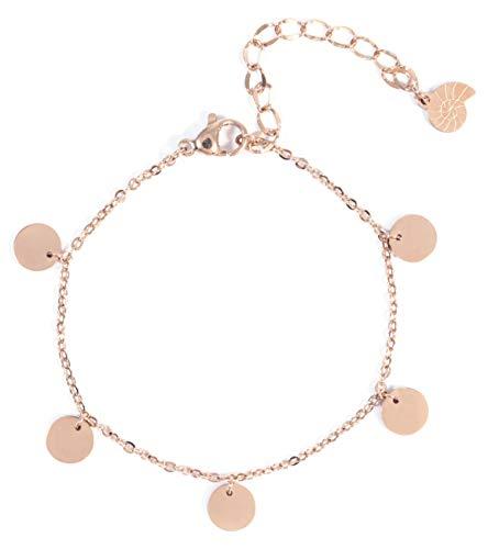 Happiness Boutique Damen Armband mit Mehreren Plättchen in Rosegold | Kreis Armkette Runde Anhänger Geometrischer Schmuck