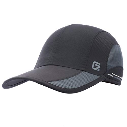 GADIEMKENSD Quick Dry Sports Hat Lightweight Breathable Soft Outdoor Run Cap (Classic up, Black)