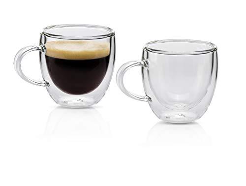 MONDAEN. Espressotassen 80ml   2er Set doppelwandige Espressogläser aus hochwertigem Borosilikat-Glas   Moderne Espresso-Tasse Thermo-isoliert   Kaffeetasse mundgeblasen