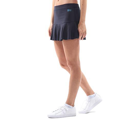 Sportkind Mädchen & Damen glockiger Tennis, Hockey, Sport Skort, Rock mit Innenhose, atmungsaktiv, UV-Schutz, Navy blau, Gr. 164