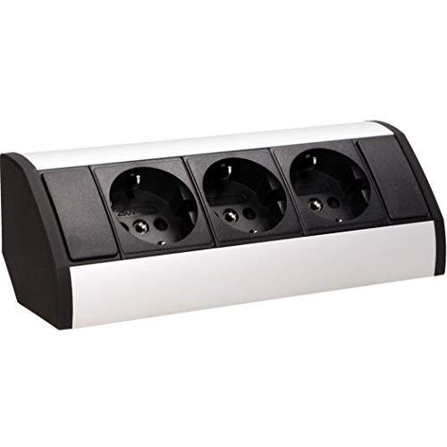 ORNO GM-9001 Ecksteckdose 3 Fach mit Kindersicherung, 45° Aufbau-Montage, 3680W, Farbe: Schwarz +Silber,für Küche, Büro und Arbeitsplatte