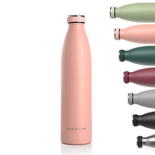 LARS NYSØM Edelstahl 1 Liter Trinkflasche   BPA-freie Isolierflasche 1000ml   Auslaufsichere Wasserflasche für Sport, Fahrrad, Hund, Baby, Kinder (Nude)