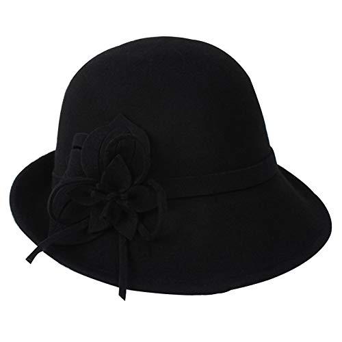 Amrta Hut Damen Wollfilz Retro Melone Hut Klassisch Bowler Hut (schwarz)
