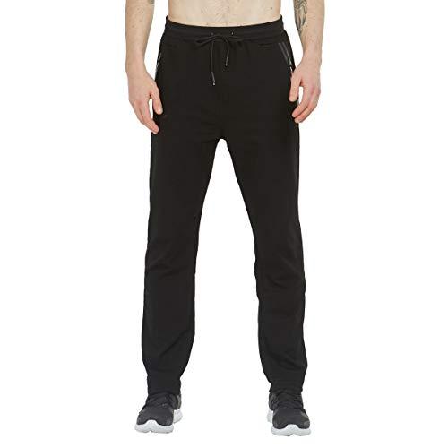Tansozer Jogginghose Herren Baumwolle Trainingshose Männer Sporthose Herren Lang Fitness Hosen Herren Reissverschluss Taschen Ohne Bündchen Schwarz M