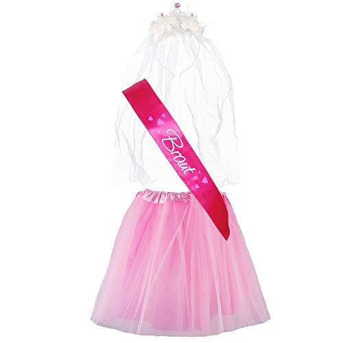 "Partybob JGA-Kostüm ""Braut"" - Junggesellinnenabschied-Verkleidung (38-44, Pink/Rosa)"