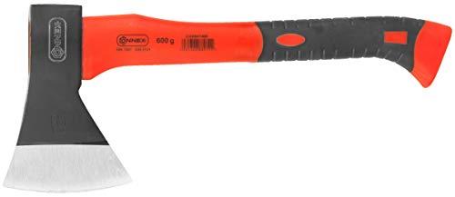 Connex Beil 600 g - Vibrationsarmer Glasfaserstiel - Kompakte Form - Gummiertes Griffende - Zur präzisen Bearbeitung von Holz / Handbeil mit Schneidschutz / Spaltbeil / Camping-Beil / COX841460