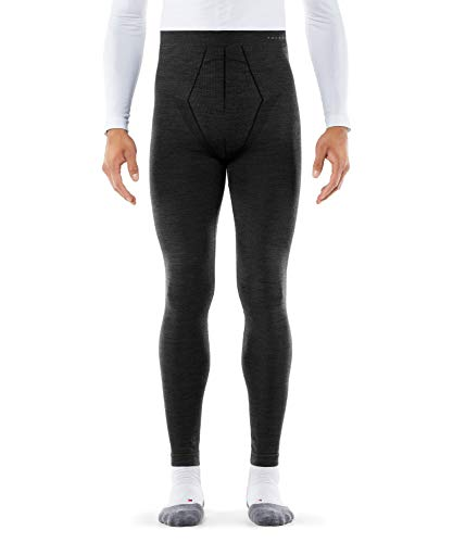 FALKE Herren Long Tights Wool Tech, Leggings mit Merinowolle, atmungsaktive Funktionswäsche zum Skifahren, Schneewandern, Sport, 1 Paar, Schwarz (Black 3000), Größe: L
