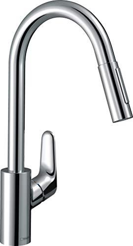 hansgrohe Küchenarmatur Focus M41, Wasserhahn Küche mit Auslauf Höhe 240 mm, 150° drehbar, ausziehbar, 2 Strahlarten, Chrom
