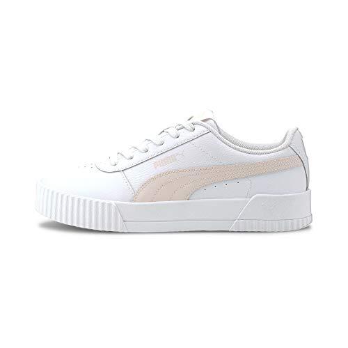 PUMA Damen Carina L Sneaker, White-White-Silver, 42 EU
