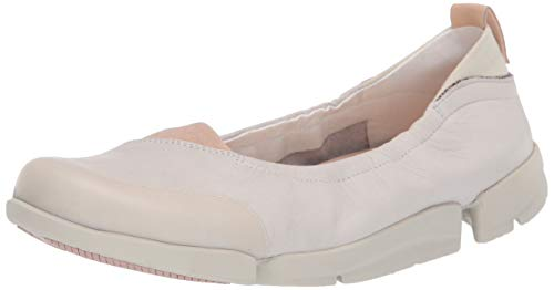 Clarks Women's Tri Adapt Ballet Flat, White Leather, 9 M US