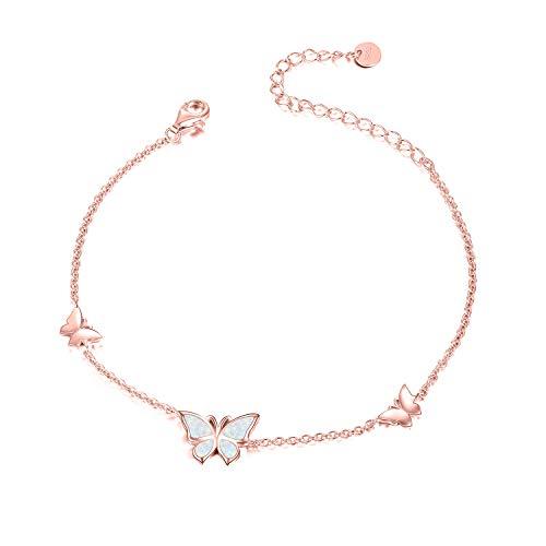 WINNICACA Schmetterling Opal Armband S925 Sterling Silber Roségold Armreif Schmuck für Frauen Mädchen Muttertag Geschenke