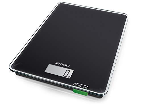 Soehnle Page Compact 100, digitale Küchenwaage, Gewicht bis zu 5 kg (1-g-genau), Haushaltswaage mit praktischer Zuwiegefunktion, elektronische Waage inkl. Batterien, kompakte Größe, schwarz