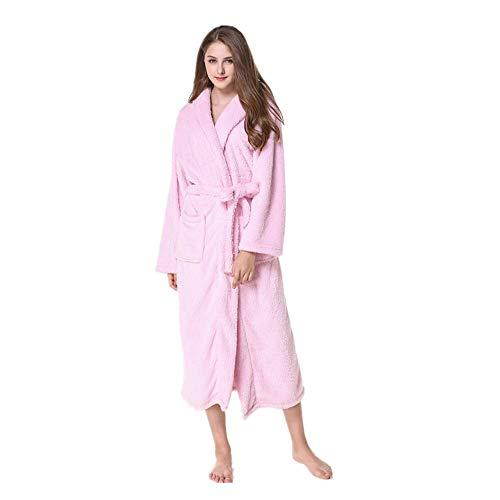 XGTsg Männer - Bademantel Lovers'Nightgowns Mit Mützen Verlängert Und Verdickt Bademantel Lange Nachthemden Für Männer Und Frauen,Pink,XL,