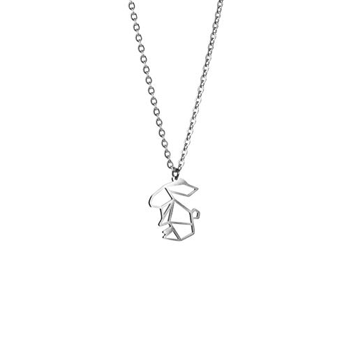 La Menagerie Kaninchen Silber, Origami-Schmuck & versilberte geometrische Kette - 925 Sterling Silberkette & Kaninchen-Halsketten - Kaninchen-Halskette für Frauen & Mädchen & Origami-Halskette