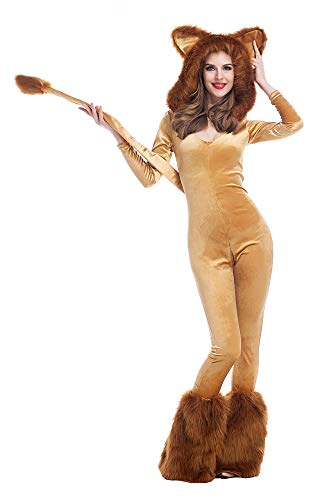 Sexy Löwe Damen Kostüm Overall mit Kapuze Kunstfell Karneval Löwin Jumpsuit Verkleidung, Größe:XXS/XS