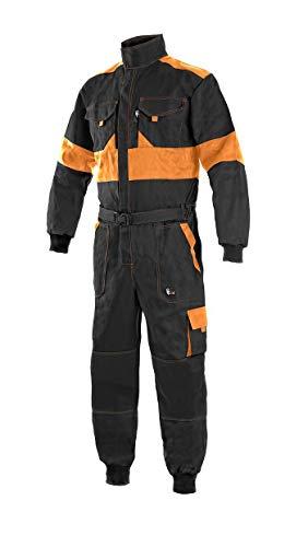 LUXY Canis CXS Robert Arbeitsoverall Herren Arbeitsanzug Schutzanzug Reißverschluss Overall Einteiler für Maler Baumwolle Gärtner Rallye Kombi Mechaniker Taschen Schutzkleidung; schwarz orange; (54)