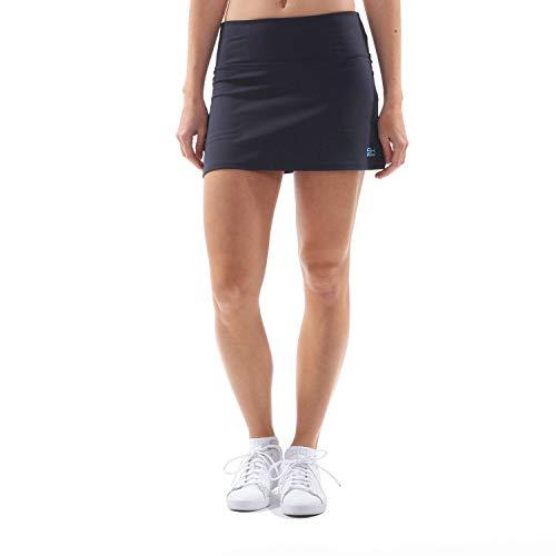 Sportkind Mädchen & Damen Tennis, Hockey, Golf Basic Skort, Rock mit Innenhose, atmungsaktiv, UV-Schutz, Navy blau, Gr. 158