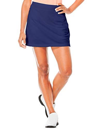 TAIPOVE Damen Rock Sport mit Innenshorts Tasche Laufrock Basic Einfarbig, Blau, M
