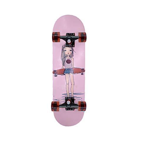 FENGZI Pink Girl Komplettes Skateboard Double Warped Skateboard 9-lagiges Maple Sports Skateboard Anti-Rutsch-Skateboard Mit Erweitertem Rad Für Erwachsene 31